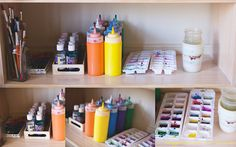 Learning Spaces: Art | Happiness is here  - squeeze bottles of paint and ice cube trays for kids to blend small amounts of colour.