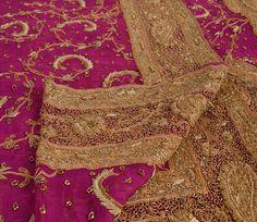 Vintage Dupatta Long Stole Chiffon Silk Hand Beaded Bridal Veil Zardozi in Clothing, Shoes & Accessories, Wedding & Formal Occasion, Bridal Accessories | eBay