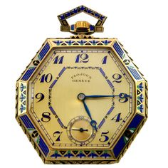 Plojoux Yellow Gold and Enamel Octagonal Dress Pocket Watch | From a unique collection of vintage pocket watches at http://www.1stdibs.com/jewelry/watches/pocket-watches/