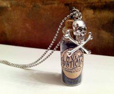 Love Potion Glitter Skull Necklace   -Kruel Intentions