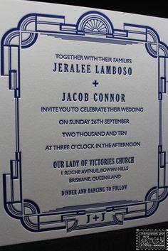 Art deco style invitation letterpress printed by The Artisan Press, Byron Bay, Australia. Bowen Hills, Art Deco Invitations, Letterpress Printing, Byron Bay, Our Lady, Personal Branding, Art Deco Fashion, Artisan, Australia