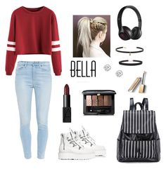 """""""Red"""" by emalinelori ❤ liked on Polyvore featuring Paige Denim, Puma, Beats by Dr. Dre, Humble Chic, Carbon & Hyde, NARS Cosmetics, Guerlain and Burberry"""