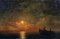 "Ivan #AIVAZOVSKY, ""MOONLIT NIGHT WREKED SHIP"" 1871"