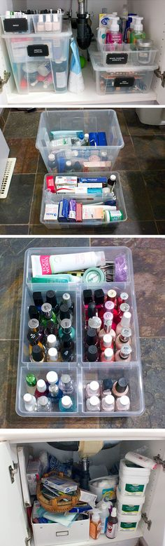 Organize Cabinet with Plastic Containers | Click Pic for 20 Dollar Store Organizing Ideas for Bathrooms | Quick and Easy Bathroom Makeover Ideas on a Budget