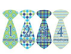 Monthly Onesie Stickers Boy Baby Month Stickers Tie Designs Baby Shower Gift Idea by BumpAndBeyondDesigns on Etsy, $10.00