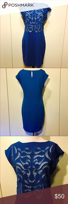 🆕 Cut Work Embellished Dress NWOT ⬇️REDUCED⬇️ NEW TO MY CLOSET.  Beautiful and unique, loose fit, cobalt blue dress.  Fully lined.  Never worn, dry clean.  See photos for measurements.  (Re-poshing because it didn't fit.) Andrew Marc Dresses Mini