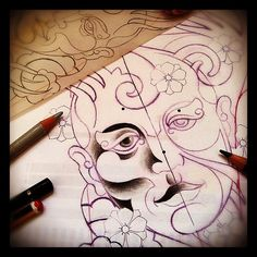 Sketchin' (2009)   #face #Sakura #Flowers #psychedelic #oriental #tattoo #sketch #2009