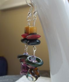 Handmade Purple Yellow Red Green Mismatched by dwhitecreations, $10.00