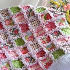 Pink Brown and Green Baby Quilt Blanket   Quilts Just 4 Kids