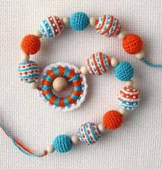 Crochet Nursing Necklace  Wooden ring Sling by NittoMiton on Etsy
