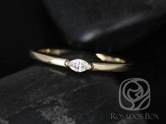 Rosados Box DJ 14kt Yellow Gold Marquise Diamond Extra Low