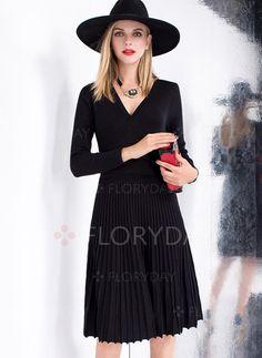 Kleider - $68.59 - Baumwollmischungen Lange Ärmel Knielang Lässige Kleidung Kleider (1955093341)