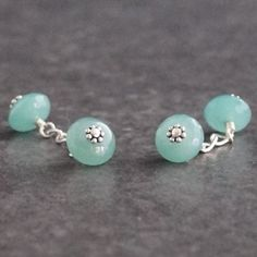 Aventurine Cufflinks #Handmade sterling silver wire wrapped Aventurine and sterling silver chain cuff links Aventurine is known as a lucky or an opportunity gemstone. It\'s also said to increase ones perception and insight.