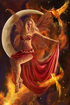 Moon ... Phoenix ... Fairy ... Night sky ... Fairy art ... Moon art ... Fantasy art ... GraphicsGrotto.com