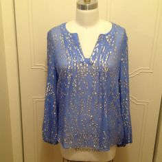 Lilly Pulitzer Bay Blue Colby Top Bay Blue silk with Metallic gold eyelash dot. Lilly Pulitzer Colby top. Worn once Lilly Pulitzer Tops Blouses