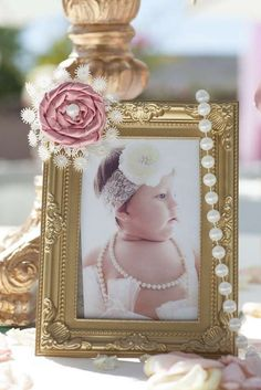 Pink and Gold First Birthday Theme Pink Gold Party, Pink And Gold Birthday Party, Gold First Birthday, First Birthday Themes, Birthday Ideas, Baptism Party Girls, Christening Party, Baby Girl Christening, Baptism Ideas Girls
