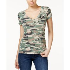 True Religion V-Neck Camouflage-Print T-Shirt ($69) ❤ liked on Polyvore featuring tops, t-shirts, micro camo, layering tees, v-neck tee, true religion tee, button up t shirts and vneck t shirts