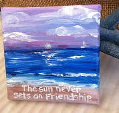 This sweet little painting is the perfect gift for a great friend. original painting on wrapped canvas. Bff Gifts, Best Friend Gifts, Canvas Crafts, Canvas Art, Crafty Projects, Art Projects, Cute Crafts, Nifty Crafts, Friend Canvas