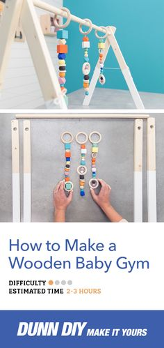 Learn how to build a wood baby gym. This attractive, colorful baby gym is great for your nursery or living room. Makes a great gift!