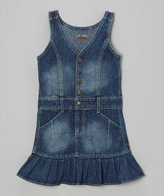 This Medium Blue Denim Snap Dress - Girls by No Fuze is perfect! #zulilyfinds