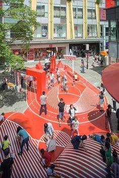 red planet, an unconventional playground by in a shopping center in shanghai Shanghai, Urban Furniture, Street Furniture, Urban Landscape, Landscape Design, Urban Intervention, Pocket Park, Playground Design, Design Poster