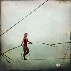 Circus High Wire Photograph--Out There-- 5x5 Fine Art Photograph.
