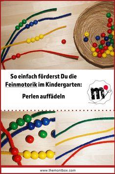 Feinmotorikübung im Kindergarten. Perlen auffädeln. Dabei können auch ganz spielerisch die Farben gelernt werden. #Montessori #Kindergarten
