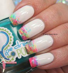 Neon Brushstroke Nail Art Pop Art Nails, Neon Nail Art, Neon Nails, Nail Art Diy, Diy Nails, Glitter Nails, Sharpie Nails, Stiletto Nails, Beautiful Nail Art