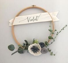 Personalized Modern Felt Flower Wreath // Modern Felt Flower