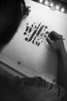"Hand lettering by Christopher Vinca, via Behance ""I am who I am"" Handwritten Typography, Cool Typography, Graphic Design Typography, Lettering Design, Hand Lettering, Calligraphy Letters, Typography Letters, Hand Drawn Type, Poster S"