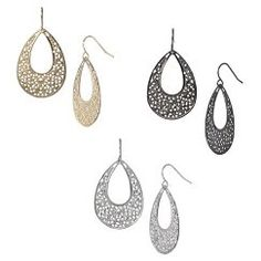 Filigree Teardrop Hoop Earring - Silver/Gold