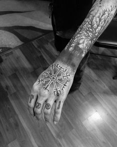 Ideas Of Cool Geometric Tattos Viking Tattoo Sleeve, Norse Tattoo, Viking Tattoos, Sleeve Tattoos, Bild Tattoos, Body Art Tattoos, Tatoos, Geometric Tattoo Pattern, Geometric Sleeve