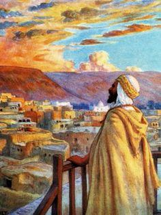 Algérie - Peintre Français  Étienne DINET (1861-1929) , Huile sur toile  1885, Titre :  Le Muezzin appelant les croyants à la prière