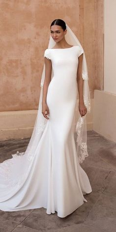 Modest Wedding Dresses Satin 30 Simple Wedding Dresses For Elegant Brides simple wedding dresses sheath wih cape sleeves elegant pronovias Simple Elegant Wedding Dress, Fancy Wedding Dresses, Dresses Elegant, Elegant Bride, Boho Wedding Dress, Bridal Dresses, Wedding Bride, Gown Wedding, Mermaid Wedding