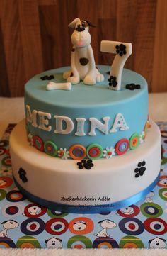 Hund - Torte :-) Dog cake :-)  Deko passend zum Cakeboard.