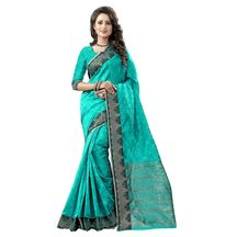 Shree Sanskruti Women's Embellished Woven Polycotton Banarasi Rama Green And Golden Color Saree For Women With Un-stitched Blouse Pic  Suit In Every Occasion, Party, Festive, Wedding, Casual, Bollywood