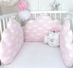 Baby cot bumpers for wide bed, 5 cloud cushions or pillows, pale pink, white and grey Designer Baby, Baby Bedroom, Baby Room Decor, Baby Design, Baby Cot Bumper, Baby Girl Owl, Big Cushions, Cloud Cushion, Baby Pillows