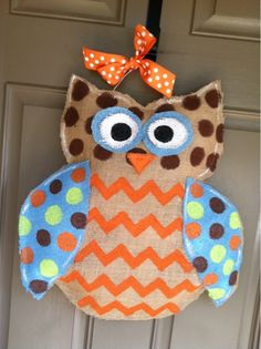 Owl Burlap- this would be so cute in a nursery! !