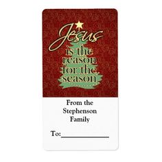 Jesus is the Reason Christian Christmas Personalized Custom Printed Gift Tag To/From Sticker Label