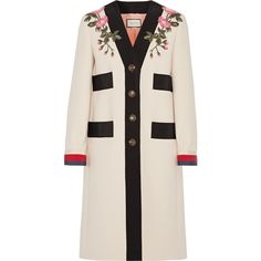 Gucci Appliquéd grosgrain-trimmed wool coat (€3.335) ❤ liked on Polyvore featuring outerwear, coats, gucci, jackets, ecru, button coat, wool coats, pink coats, patterned coat and multi colored coat