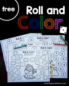 five free winter roll and color games for preschool and kindergarten!Get five free winter roll and color games for preschool and kindergarten! Kindergarten Centers, Math Centers, Winter Activities, Preschool Activities, Preschool Winter, Counting Activities, Winter Thema, Christmas Math, Kindergarten Christmas