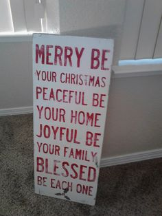 Hand painted sign. Merry Christmas!