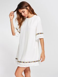 824f3a169 Shop Embroidered Tape And Knotted Fringe Detail Dress online. SheIn offers  Embroidered Tape And Knotted