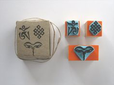 Set of 3 rubber stamps with 3 symbols of by SamadhiArtShop on Etsy
