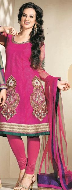 $110.84 Pink Full Sleeve Net Knee Length Anarkali Salwar Kameez 19649