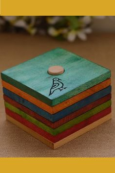 Multi coloured wooden buffed coaster from UnravelIndia. Wooden Painting, Wooden Art, Diy Painting, Marble Coasters, Wooden Coasters, Wooden Projects, Wooden Crafts, Handmade Home Decor, Handmade Wooden
