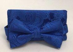 Stacy Adams Bow Tie & Hanky Set Solid Royal Blue Paisley Men's 100% Microfiber #StacyAdams #BowTie
