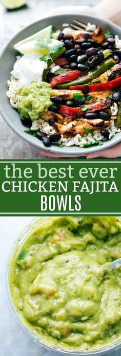 Super simple, tasty, and healthier Chicken Fajita Bowls. Start your bowl with rice, top it with chicken, and finish it with your favorite fajita toppings.
