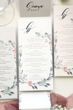 Kate Grey and Soft Orange Wreath Menus, Printable Menu or Printed Menus, DL Menus, Custom Colours and Sizes, Modern Menus, Garden Wedding