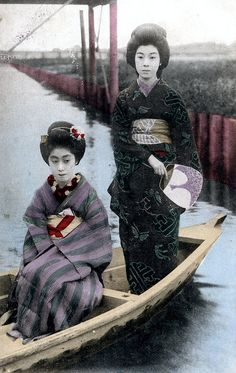 inch Photo Puzzle with 252 pieces. (other products available) - Japan - Two Japanese Geisha Girls pose on a small boat Date: circa 1904 - Image supplied by Mary Evans Prints Online - Jigsaw Puzzle made in the USA Old Photos, Vintage Photos, Vintage Photographs, Oriental, Samurai, Japanese Photography, Oldschool, Japan Photo, Japanese Outfits